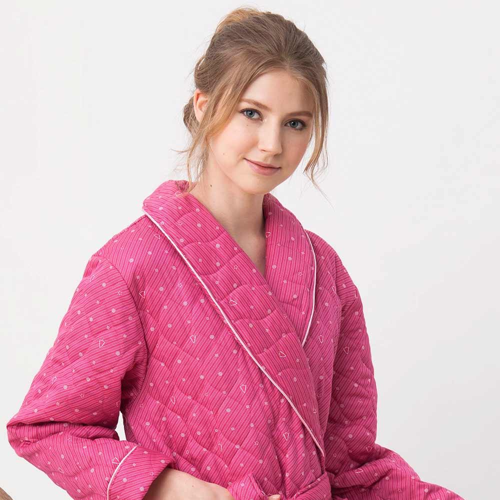 羅絲美睡衣-魔力星鑽長袖保暖睡袍(莓紅)