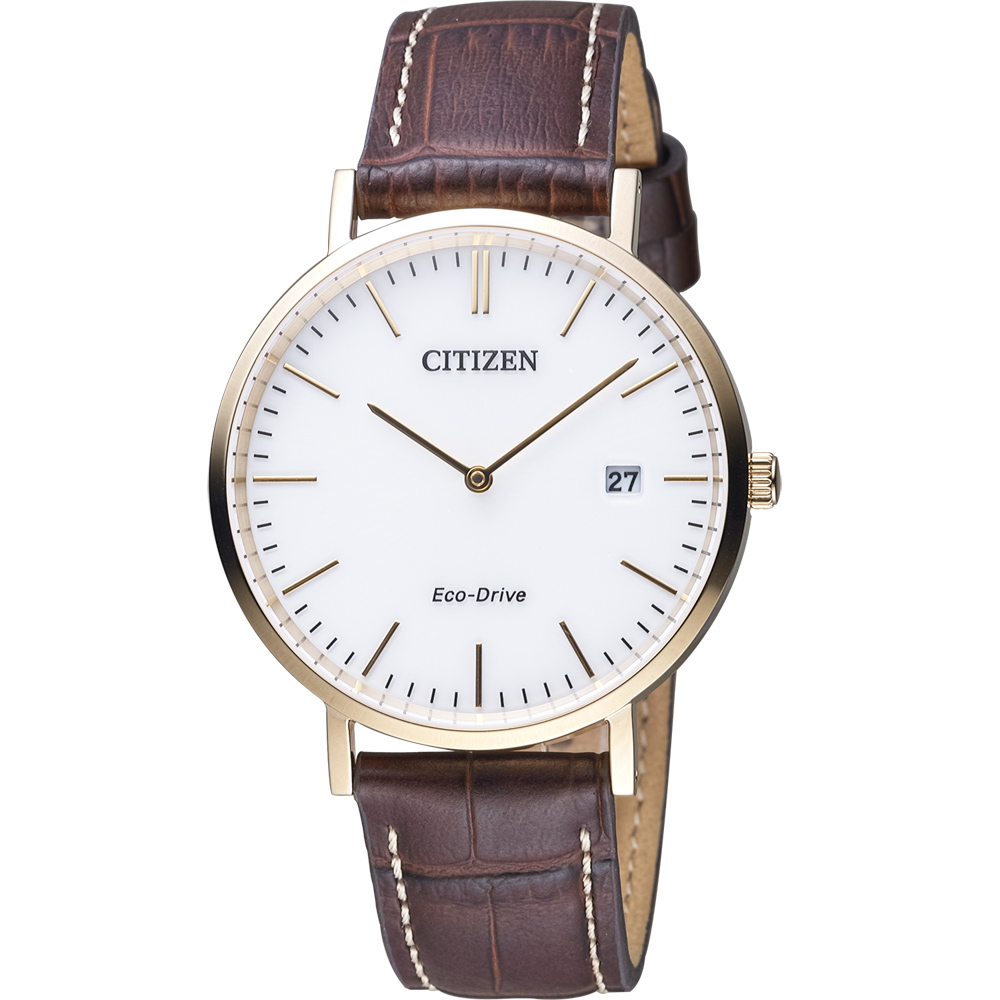 CITIZEN 素面百搭時尚光動能紳士錶(AU1083-13A)-白/40mm