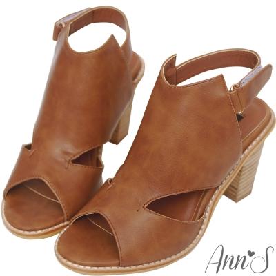 Ann'S時髦達人-後空靴型魚口粗跟涼鞋-咖啡
