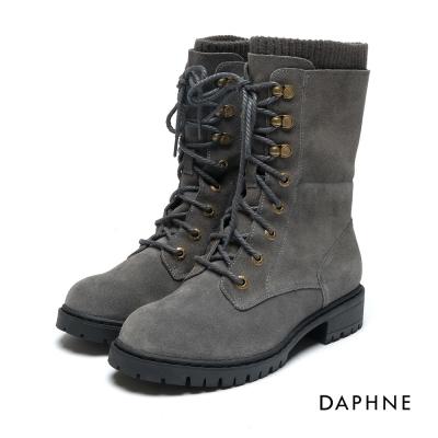 達芙妮DAPHNE 短靴-麂皮拼接針織繫帶馬丁靴-灰