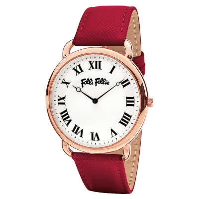 Folli Follie PERFECT 羅馬手錶-銀x紅皮帶/39mm