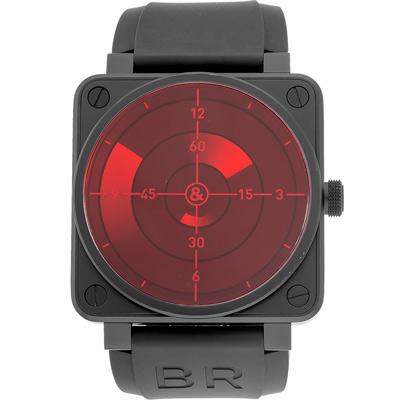 Bell & Ross BR0192-RED 紅色雷達黑色橡膠腕錶-46mm