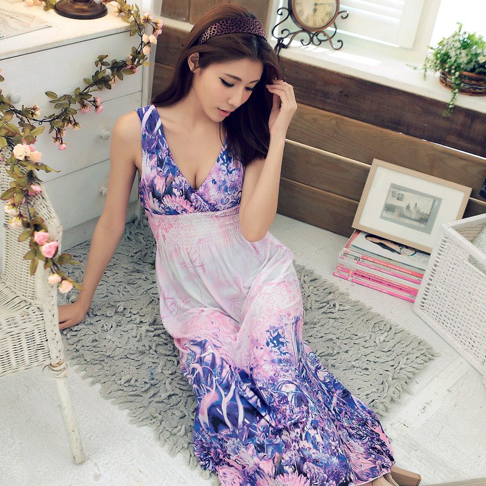 【La Belleza】深V爆乳絢爛花朵上下配色雙V長洋裝