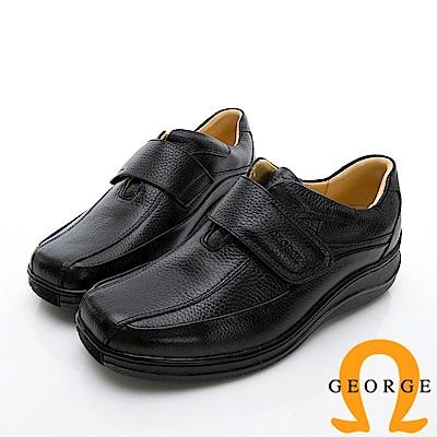 GEORGE 喬治-商務系列 魔鬼氈厚底紳士方頭皮鞋-黑