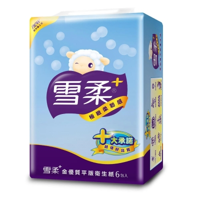 雪柔金優質平版衛生紙300張x6包/串
