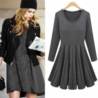 中大尺碼素色棉料收腰百摺傘狀裙擺連身洋裝(灰色)3L-Ballet Dolly