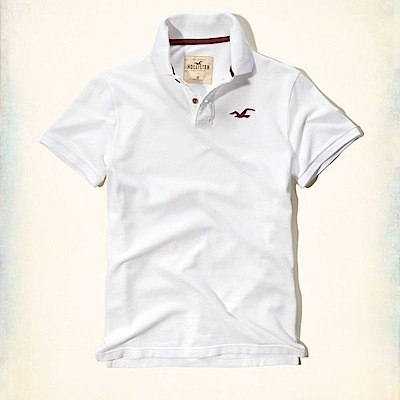 Hollister-HCO-短袖-polo-白色