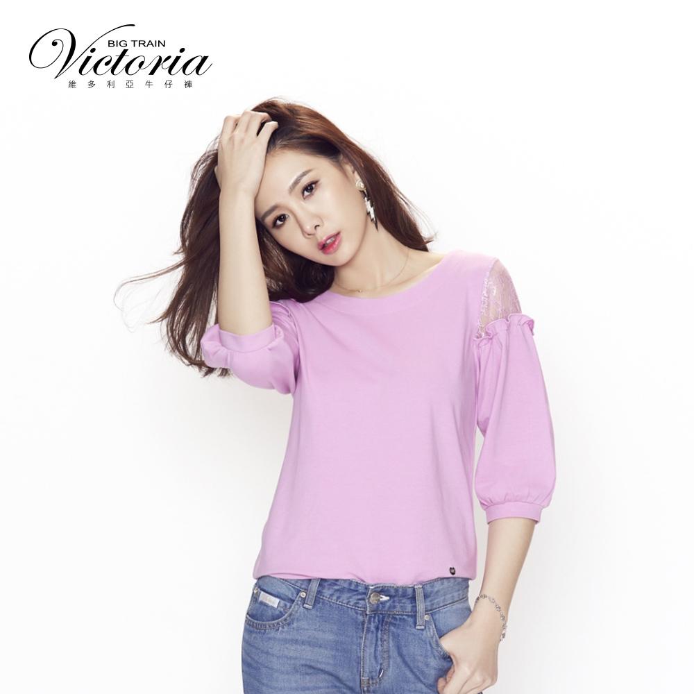 Victoria 袖蕾絲剪接拋袖七分袖T-女-紫粉