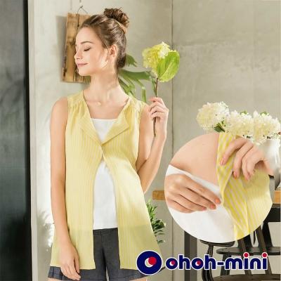 ohoh-mini 孕婦裝 無袖翻領兩件式孕哺套裝