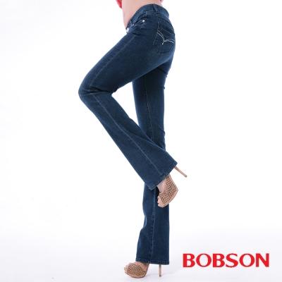 BOBSON   女款膠原蛋白小喇叭美肌褲-深藍