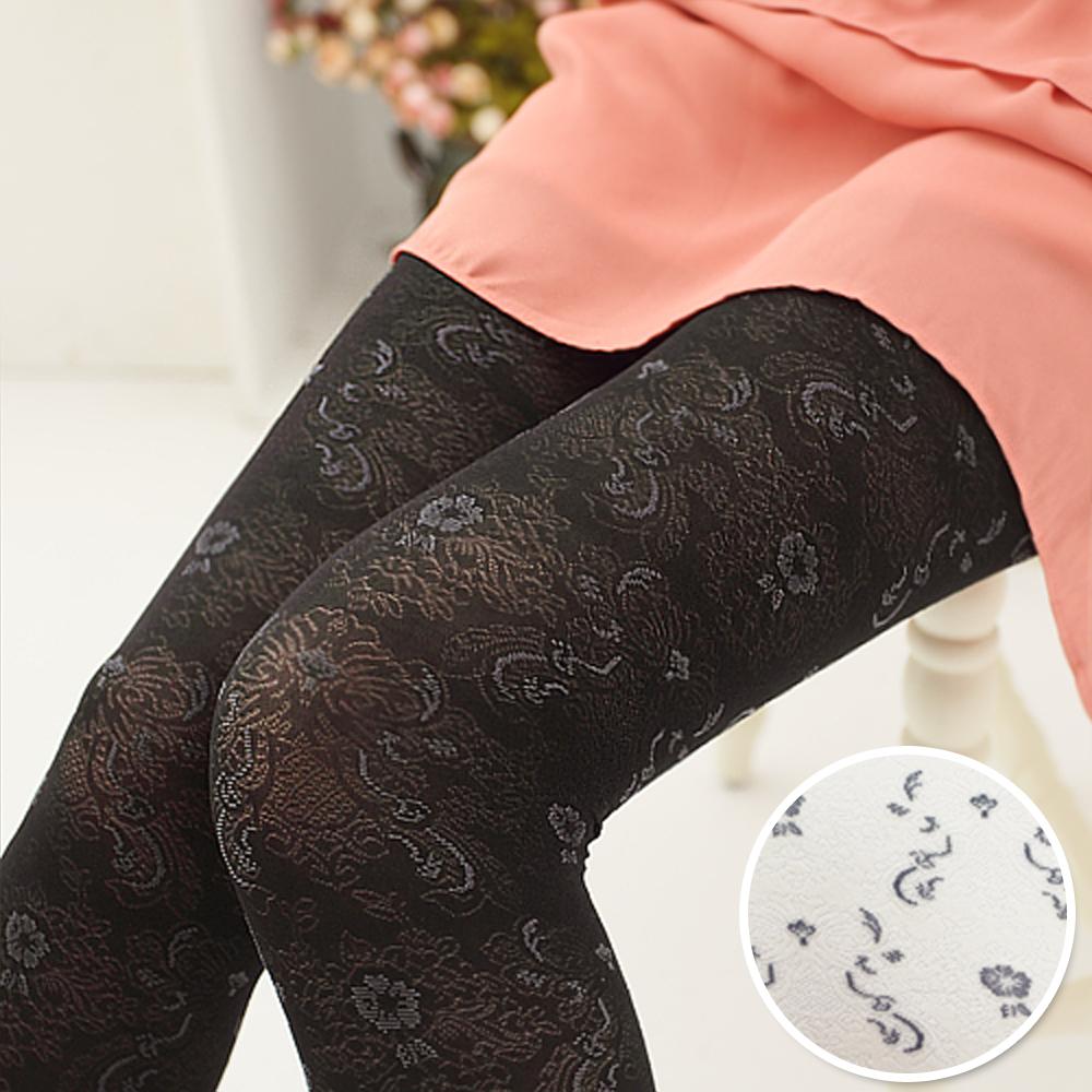 I-shi  日本空運.玫瑰織紋褲襪- 米