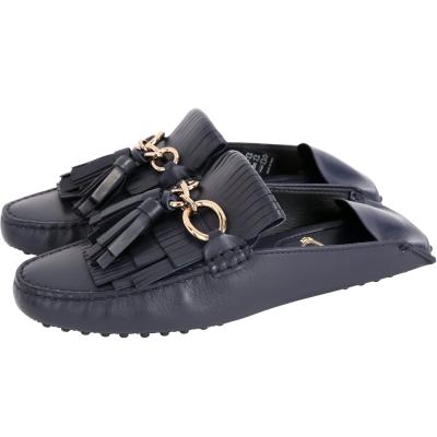 TOD'S Tassel 牛皮流蘇拖鞋式豆豆便鞋(女款/深藍色)