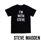 STEVE MADDEN-品牌圓領短袖棉T-黑(I'M WITH STEVE)