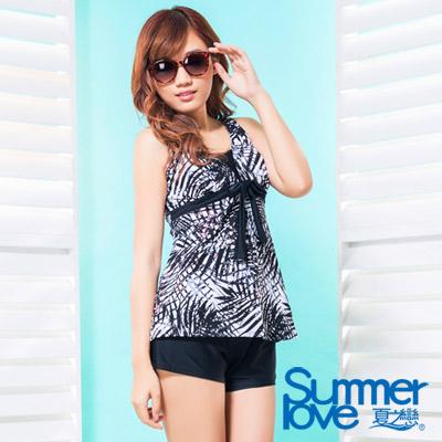 夏之戀SUMMERLOVE 比基尼泳裝 長版三件式印花泳衣 黑白叢林風
