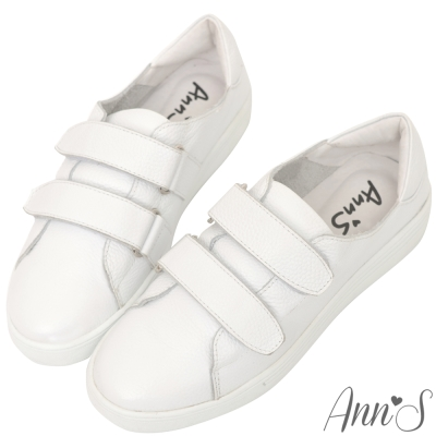 Ann'S超軟真牛皮雙魔鬼氈休閒鞋-白