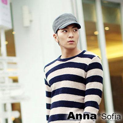 AnnaSofia-簡約中性毛呢-混羊毛球帽軍帽