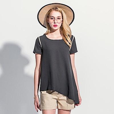 肩袖配色斜襬造型圓領短袖寬鬆上衣.2色-OB大尺碼
