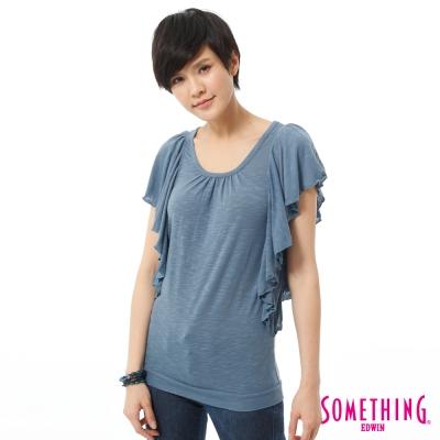 SOMETHING 飄逸荷葉袖T恤-女-藍色