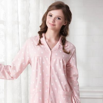 羅絲美睡衣 - 淘氣點點長袖褲裝睡衣(甜美粉)