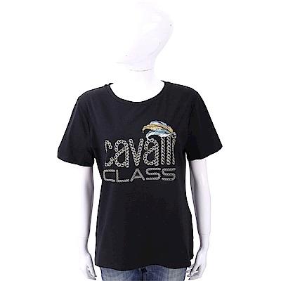 CLASS roberto cavalli 寶石羽毛印花黑色棉質T恤