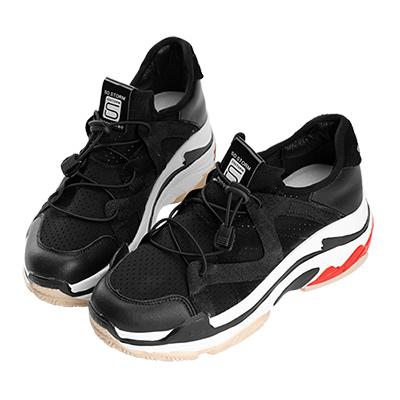 Robinlo & Co. 潮流指標異材質伸縮帶運動休閒鞋 黑色