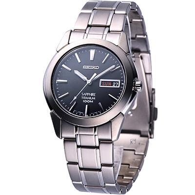 SEIKO 鈦金屬 男用石英腕錶(7N43-0AS0D)灰x銀/37mm