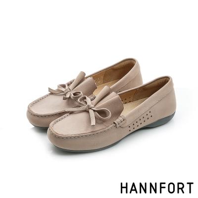 HANNFORT RIPPLE蝴蝶結典雅樂福鞋-女-米灰色