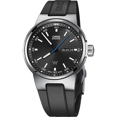 Oris Willimas F1賽車系列日曆星期機械錶-黑x橡膠錶帶/42mm