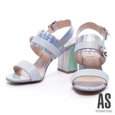 涼鞋 AS 夏日夢境幻彩牛皮粗跟涼鞋-白