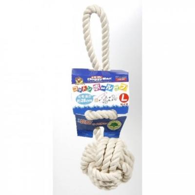 Doggyman 犬用自然素材棉質長結繩潔牙遊戲球-L號