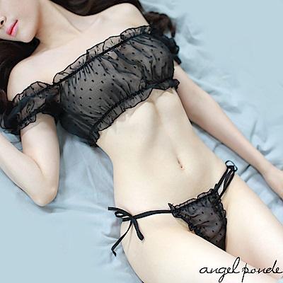 情趣睡衣 波點平口文胸透視雪紡小可愛附內褲(共二色)-天使波堤