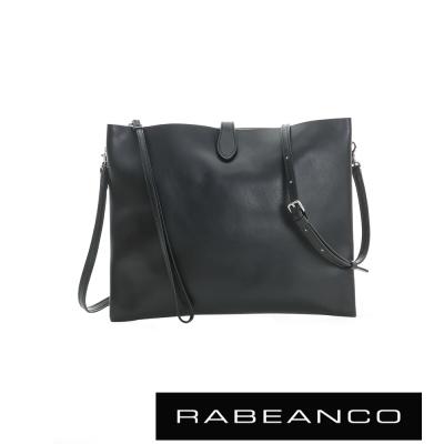 RABEANCO 迷時尚牛皮系列多夾層鏈帶手拿包 (大) - 黑