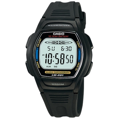 CASIO 10年電量電子運動錶(LW-201-2A)-藍邊