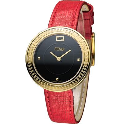 FENDI MY WAY 輕盈美學時尚腕錶-黑x紅/36mm