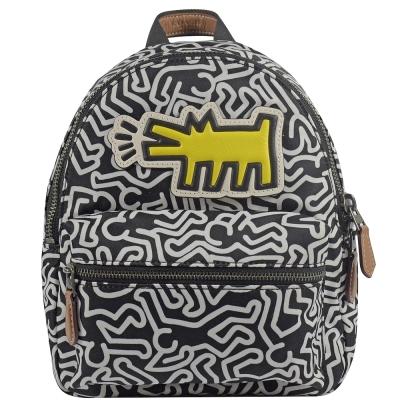 COACH Keith Haring聯名人型汪汪塗鴨尼龍後背包(小/黑)COACH