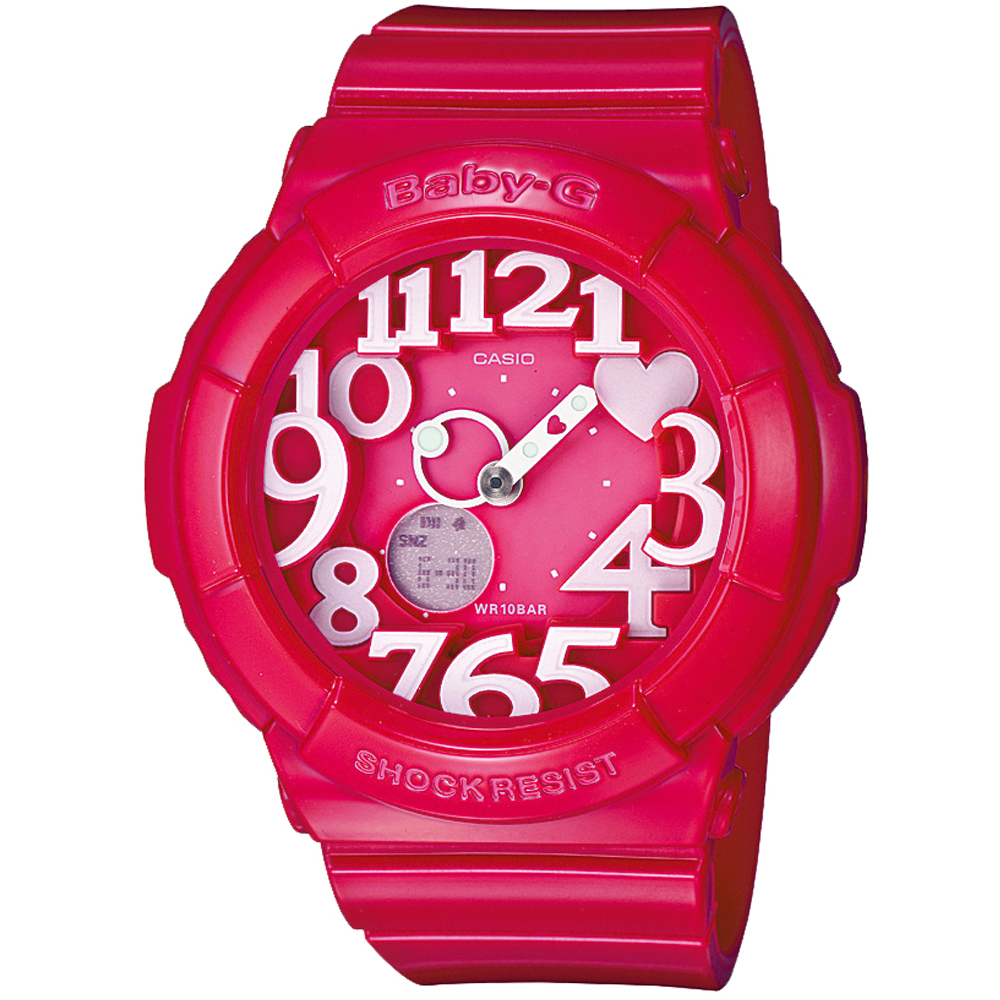 BABY-G 活潑玩味立體霓虹多彩休閒錶(BGA-130-4B)-紅精靈/43.1mm
