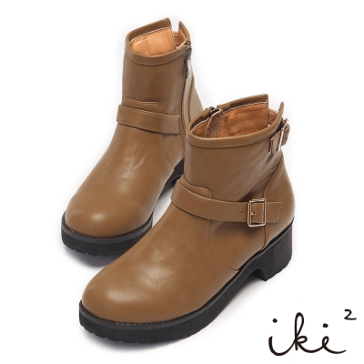 iki2騎士精神-舒適百搭雙扣環短靴-豆青