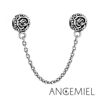 Angemiel安婕米 義大利 925純銀夾扣安全鍊 玫瑰戀曲