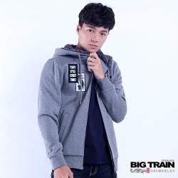 BIG TRAIN 軍事潮流連帽外套-男-麻灰色