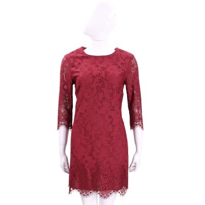 ERMANNO SCERVINO 紅色縷空花朵蕾絲七分袖洋裝