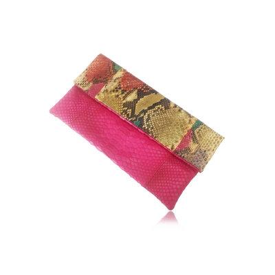 ACUBY 限量單品手工蛇皮摺疊手拿包/釉彩紅