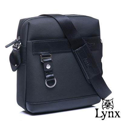 Lynx - 山貓經典極簡風格直式真皮側背包-經典黑