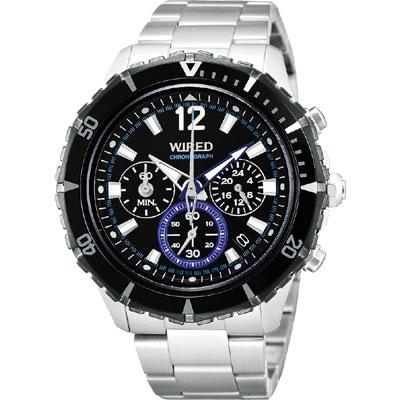 WIRED The BLUE 翱翔限量三眼計時腕錶(AU 2137 X 1 )-黑/ 45 mm