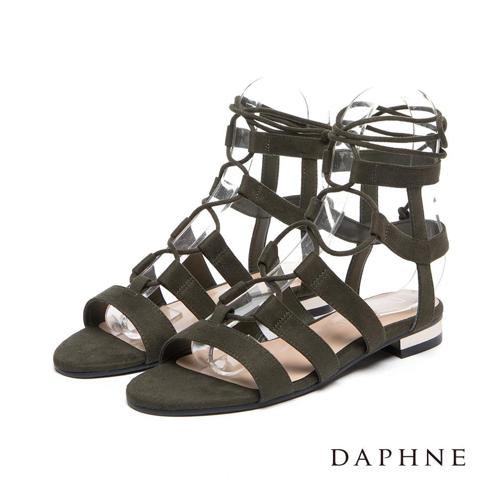 達芙妮DAPHNE 涼鞋-交叉綁帶羅馬平底涼鞋-墨綠8H