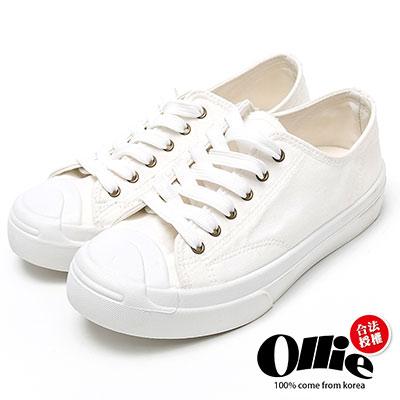 Ollie韓國空運-正韓製復古刷色水洗帆布奶油頭休閒鞋-白