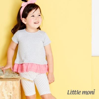 Little moni 波卡圓點leggings五分褲 白色