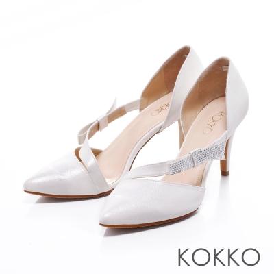 KOKKO經典手工- 優雅尖頭水鑽蝴蝶結摟空高跟鞋 - 白
