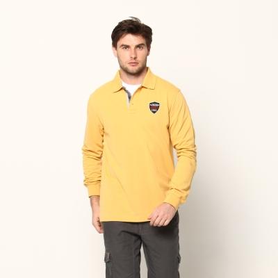 JEEP簡約細緻長袖POLO衫(蜂蜜黃)