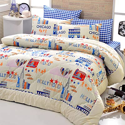 Goelia  魅力光芒 精梳純棉立體壓花加大鋪棉兩用被套床包四件組