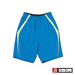 SASAKI 夜間反光抗紫外線四面彈力吸排功能慢跑短褲-男-亮藍/艷黃(長版)